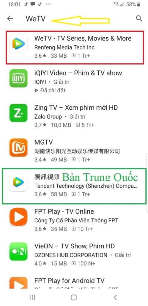 Ứng dụng xem phim WeTV